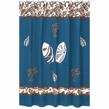 Sweet JoJo Designs Surf Blue & Brown Shower Curtain