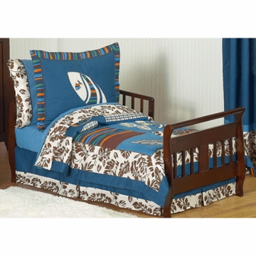 Sweet JoJo Designs Surf Blue & Brown Toddler Bedding Set