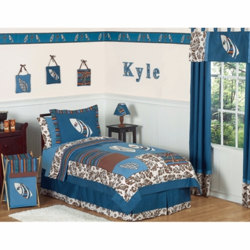 Sweet JoJo Designs Surf Blue & Brown Twin Bedding Set