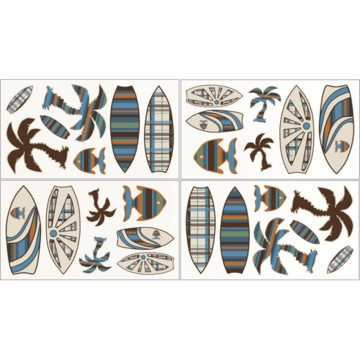 Sweet JoJo Designs Surf Blue & Brown Wall Decals