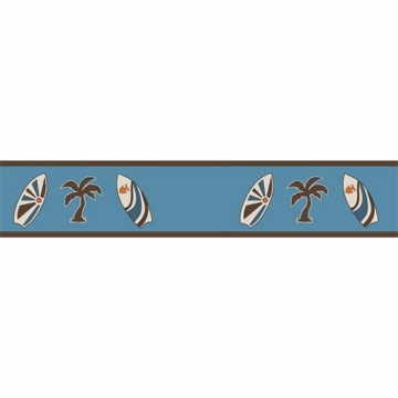 Sweet JoJo Designs Surf Blue & Brown Wallpaper Border