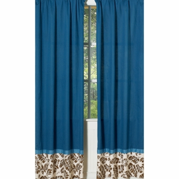Sweet JoJo Designs Surf Blue & Brown Window Panels - Set of 2
