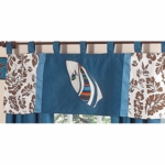 Sweet JoJo Designs Surf Blue & Brown Window Valance