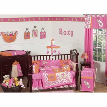 Sweet JoJo Designs Surf Pink & Orange 9 Piece Crib Bedding Set