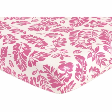 Sweet JoJo Designs Surf Pink & Orange Crib Sheet - Hibiscus Print