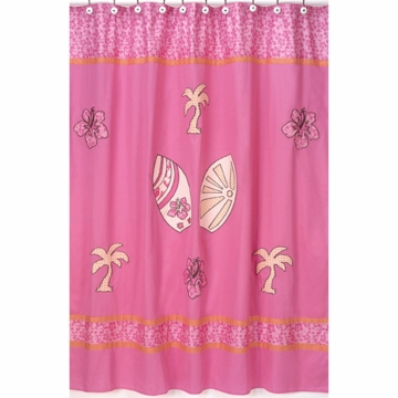 Sweet JoJo Designs Surf Pink & Orange Shower Curtain