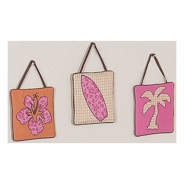 Sweet JoJo Designs Surf Pink & Orange Wall Hangings