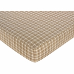 Sweet JoJo Designs Teddy Bear Chocolate Crib Sheet - Plaid Print