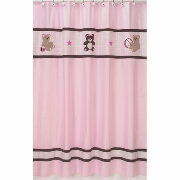 Sweet JoJo Designs Teddy Bear Pink Shower Curtain