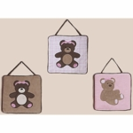 Sweet JoJo Designs Teddy Bear Pink Wall Hangings