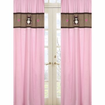 Sweet JoJo Designs Teddy Bear Pink Window Panels - Set of 2
