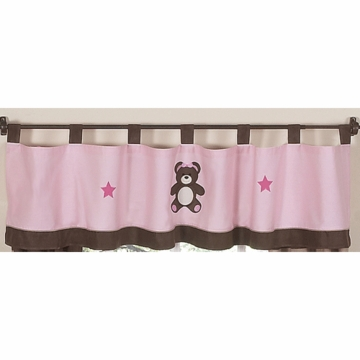 Sweet JoJo Designs Teddy Bear Pink Window Valance