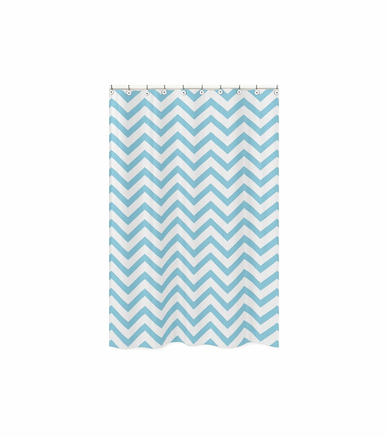 Sweet JoJo Designs Turquoise Amp White Chevron Shower Curtain