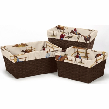 Sweet JoJo Designs Wild West Cowboy Basket Liners in Cowboy - Set of 3