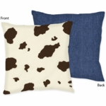 Sweet JoJo Designs Wild West Cowboy Decorative Throw Pillow - Cow Print