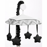 Sweet JoJo Designs Zig Zag Black & Grey Chevron Musical Mobile