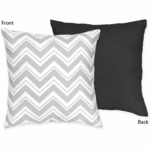 Sweet JoJo Designs Zig Zag Black & Grey Chevron Reversible Decorative Throw Pillow