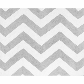 Sweet JoJo Designs Zig Zag Black & Grey Chevron Rug