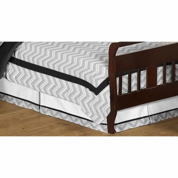 Sweet JoJo Designs Zig Zag Black & Grey Chevron Toddler Bed Skirt