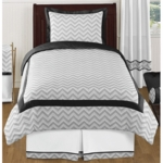 Sweet JoJo Designs Zig Zag Black & Grey Chevron Twin Bedding Set