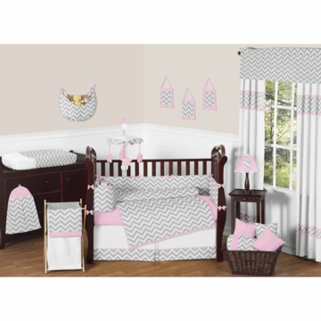 Sweet JoJo Designs Zig Zag Pink & Grey Chevron 9 Piece Crib Bedding Set