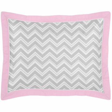 Sweet JoJo Designs Zig Zag Pink & Grey Chevron Pillow Sham