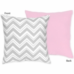 Sweet JoJo Designs Zig Zag Pink & Grey Chevron Reversible Decorative Throw Pillow