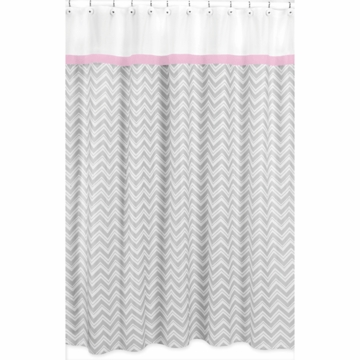 Sweet JoJo Designs Zig Zag Pink & Grey Chevron Shower Curtain