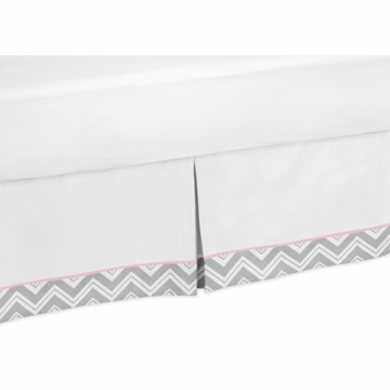 Sweet JoJo Designs Zig Zag Pink & Grey Chevron Toddler Bed Skirt