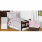 Sweet JoJo Designs Zig Zag Pink & Grey Chevron Toddler Bedding Set