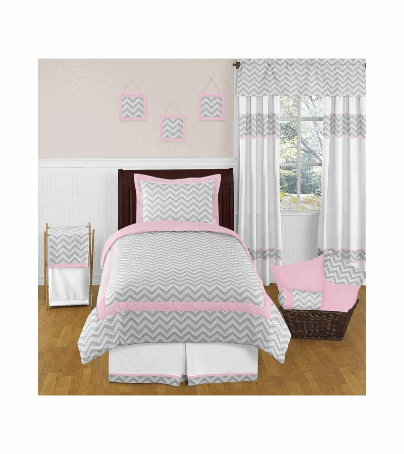 Cheap Pink And Grey Chevron Baby Bedding