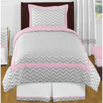 Sweet JoJo Designs Zig Zag Pink & Grey Chevron Twin Bedding Set
