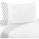 Sweet JoJo Designs Zig Zag Pink & Grey Chevron Twin Sheet Set