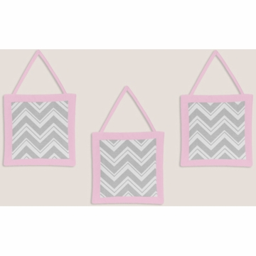 Sweet JoJo Designs Zig Zag Pink & Grey Chevron Wall Hangings