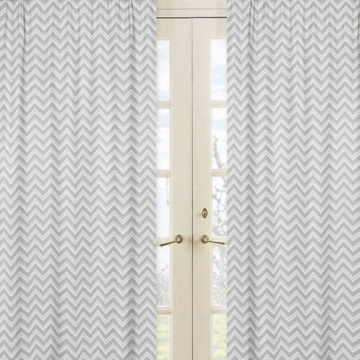 Sweet JoJo Designs Zig Zag Pink & Grey Chevron Zig Zag Window Panels - Set of 2