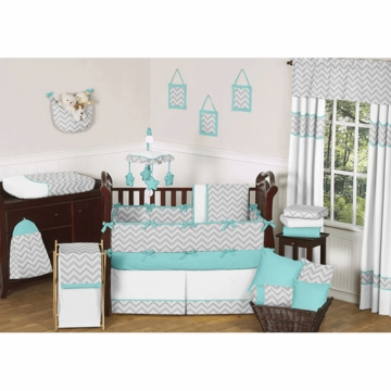 Sweet JoJo Designs Zig Zag Turquoise & Grey Chevron 9 Piece Crib Bedding Set
