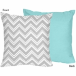 Sweet JoJo Designs Zig Zag Turquoise & Grey Chevron Reversible Decorative Throw Pillow