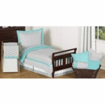 Sweet JoJo Designs Zig Zag Turquoise & Grey Chevron Toddler Bedding Set