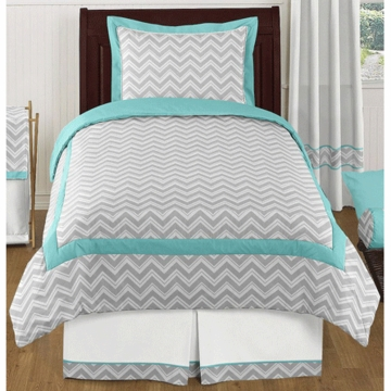 Sweet JoJo Designs Zig Zag Turquoise & Grey Chevron Twin Bedding Set