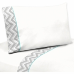 Sweet JoJo Designs Zig Zag Turquoise & Grey Chevron Twin Sheet Set