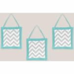 Sweet JoJo Designs Zig Zag Turquoise & Grey Chevron Wall Hangings