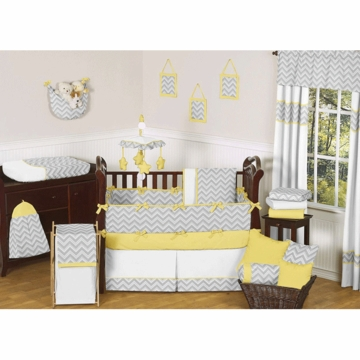 Sweet JoJo Designs Zig Zag Yellow & Grey Chevron 9 Piece Crib Bedding Set