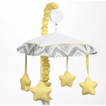 Sweet JoJo Designs Zig Zag Yellow & Grey Chevron Musical Mobile
