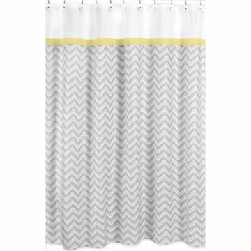 Sweet JoJo Designs Zig Zag Yellow & Grey Chevron Shower Curtain
