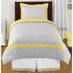 Sweet JoJo Designs Zig Zag Yellow & Grey Chevron Twin Bedding Set