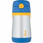 Thermos Foogo Leak-Proof Stainless Steel Straw Bottle - 10 Ounce - Blue/Yellow