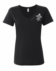 KDF Ladies Fleur-de-Pegasus Sheer V-neck Tee Black
