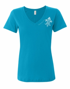 KDF Ladies' Fleur-de-Pegasus Sheer V-neck Tee Caribbean Blue