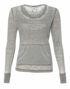 Ladies Long Sleeve Zen Thermal Burnout T-shirt Cement