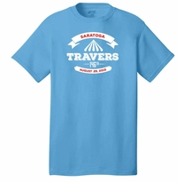 2015 Travers Stakes Event Logo Adult T-Shirt Aquatic Blue